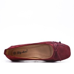 Burgundy comfort ballerina with star pattern