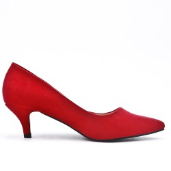 Red ue suede leather pumps with heels