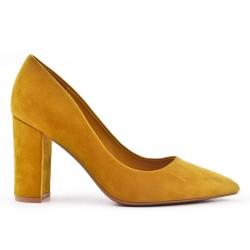 Yellow suede faux suede pumps
