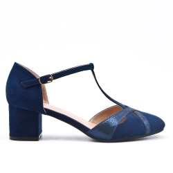 Blue pump with small square heel