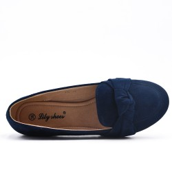 Blue comfort moccasin in faux suede with bow