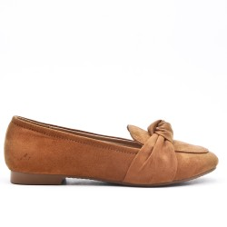 Comfort camel moccasin in faux suede with bow