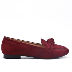Red wine comfort moccasin in faux suede with bow
