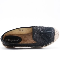 Black glitter espadrille with pompom