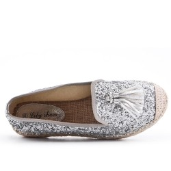 Glitter espadrille with pompom