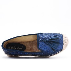 Blue spangled espadrille with pompom