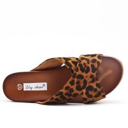 Claquette léopard à semelle épaisse