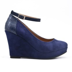 Navy pump wedge heel