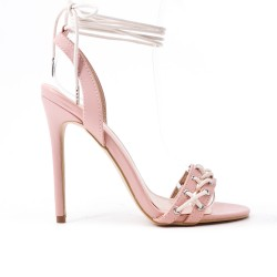 Pink imitation leather sandal with high heel