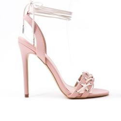 Sandale rose en simili cuir à talon haut
