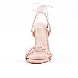 Sandalia rosada imitación cuero con tacón alto
