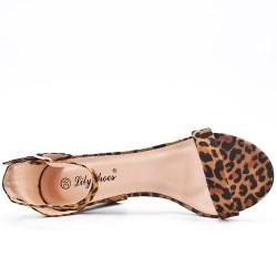 Sandalia de leopardo en gamuza sintética con tacón