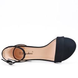 Sandale noire en simili daim à talon carré