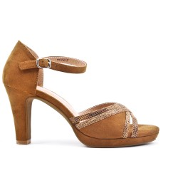 Camel faux suede sandals