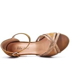 Sandale camel en simili daim à talon