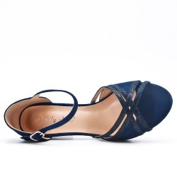 Blue faux suede sandals