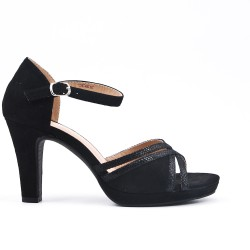 Black faux suede sandals