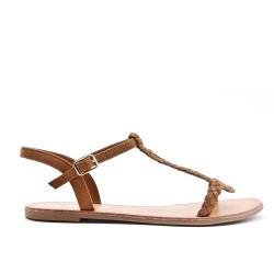 Sandale tressée camel en simili daim