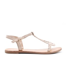Beige braided sandal in faux suede