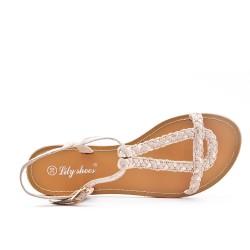 Sandale tressée beige en simili daim