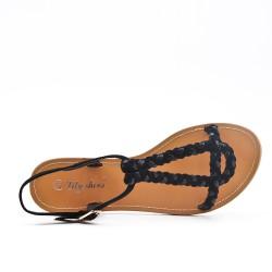 Sandale tressée noire en simili daim