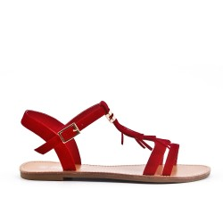 Red sandal with bangs