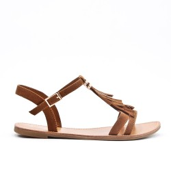Camel sandal with bangs