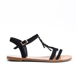 Black sandal with bangs