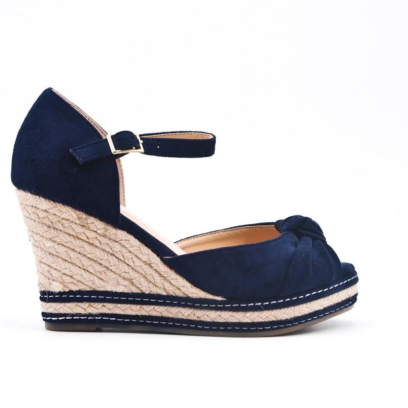 Compensée Sandale Bleu À Semelle Espadrille 92IHEDWY