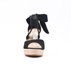 Sandalia cuña gamuza negra