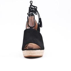 Sandale noire compensée à lacet pompon
