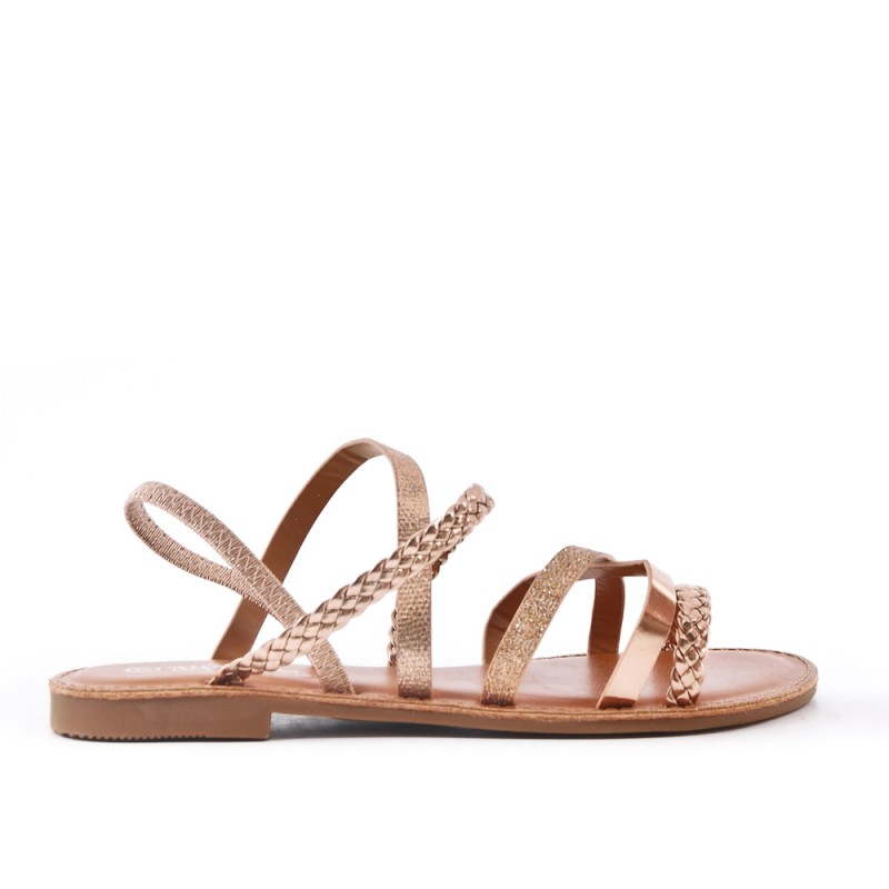 f124ab7cb Champagne flat sandal with braided flange.