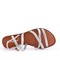 Sandale plate argent à bride tressée