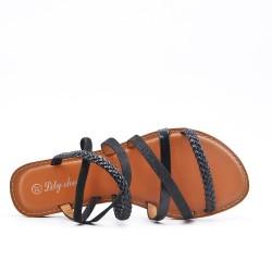 Sandale plate noire à bride tressée