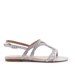 Sandalia de piel trenzada plata