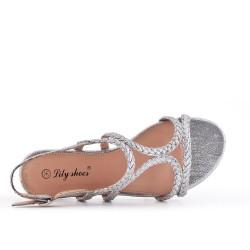 Sandale tressée argent en simili cuir