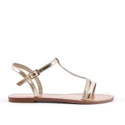 Golden leatherette flat sandal