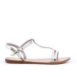 Sandale plate argent en simili cuir