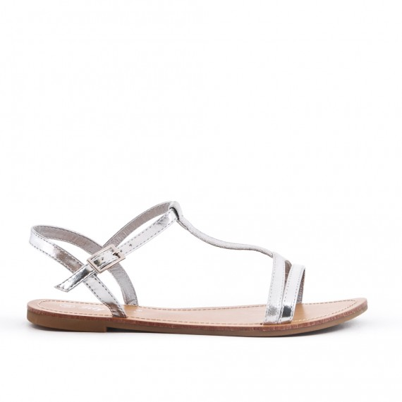 Sandale En Simili Plate Argent Cuir fY7mbyvgI6