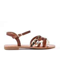 Brown leatherette flat sandal