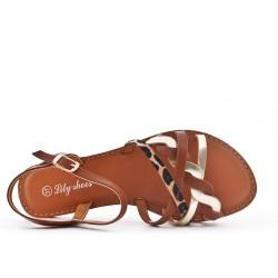 Sandale plate marron en simili cuir