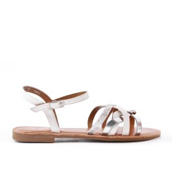 Sandalia plana de polipiel blanco
