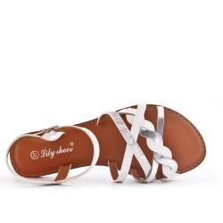 White leatherette flat sandal