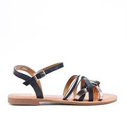 Black leatherette flat sandal