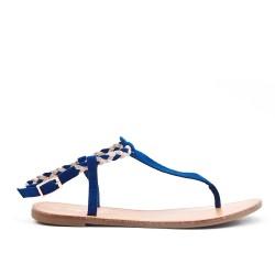 Sandale Tong bleu à bride tressée