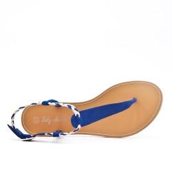 Sandalia Tong azul con brida trenzada