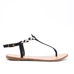 Tong sandal black with braided flange