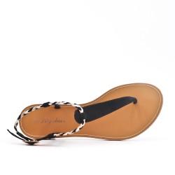 Sandale Tong noire à bride tressée