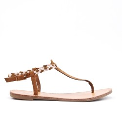 Tong sandal camel with braided flange