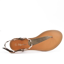 Tong sandal green with braided flange